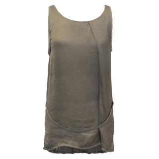 Helmut Lang Silk Blend Camo Green Vest
