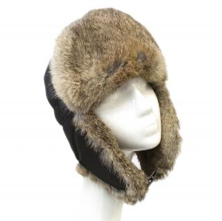 Prada Black Russian Hat with Rabbit Fur