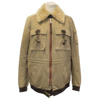 DSquared Khaki Cotton Blend Coat