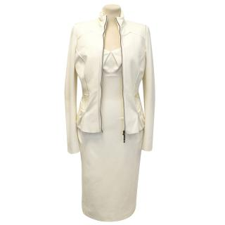 Amanda Wakeley Cream Viscose Blend Fitted Dress and Jacket