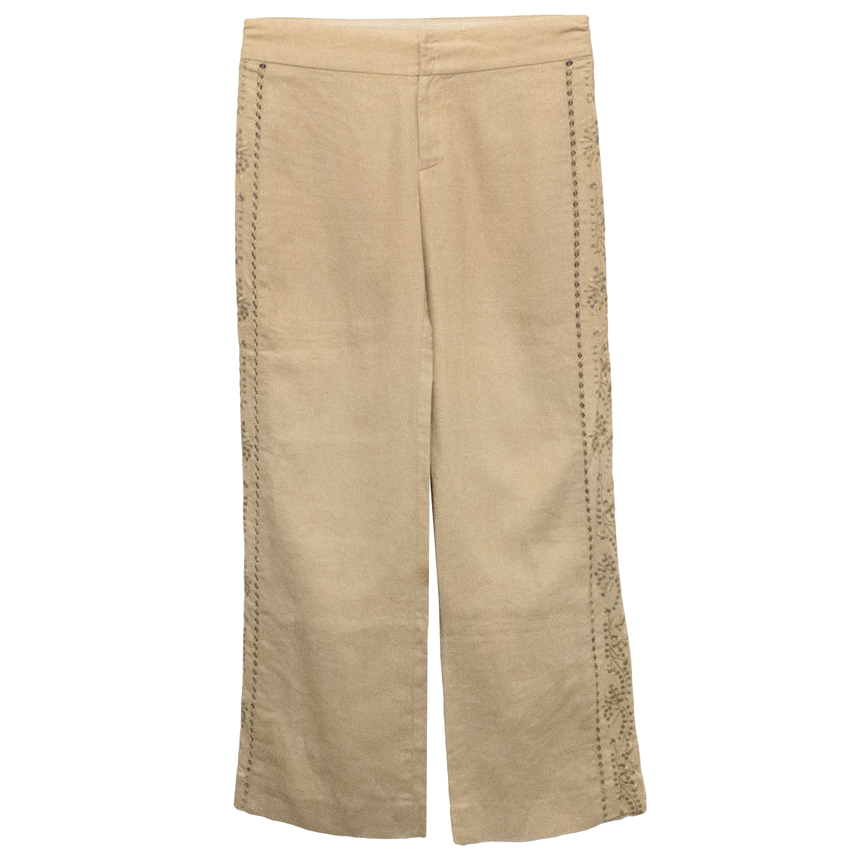 Rebecca Taylor Camel Linen Trousers with Floral Sides