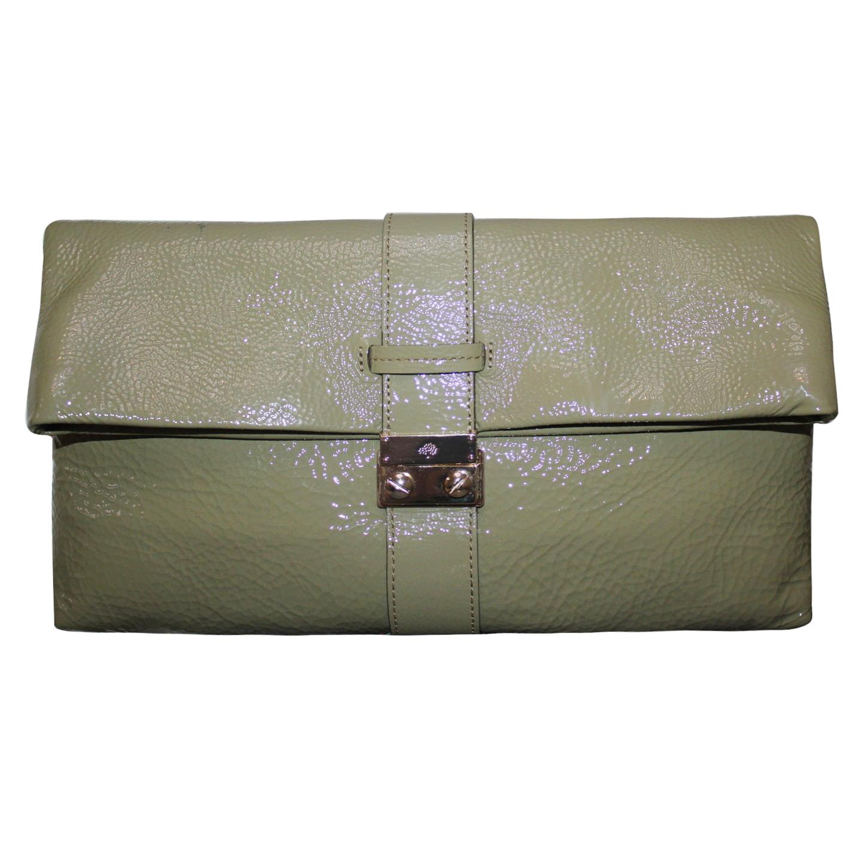 Mulberry Harriet Clutch Spongy Patent Leathersummer Khaki   HEWI London 3618db9ca7