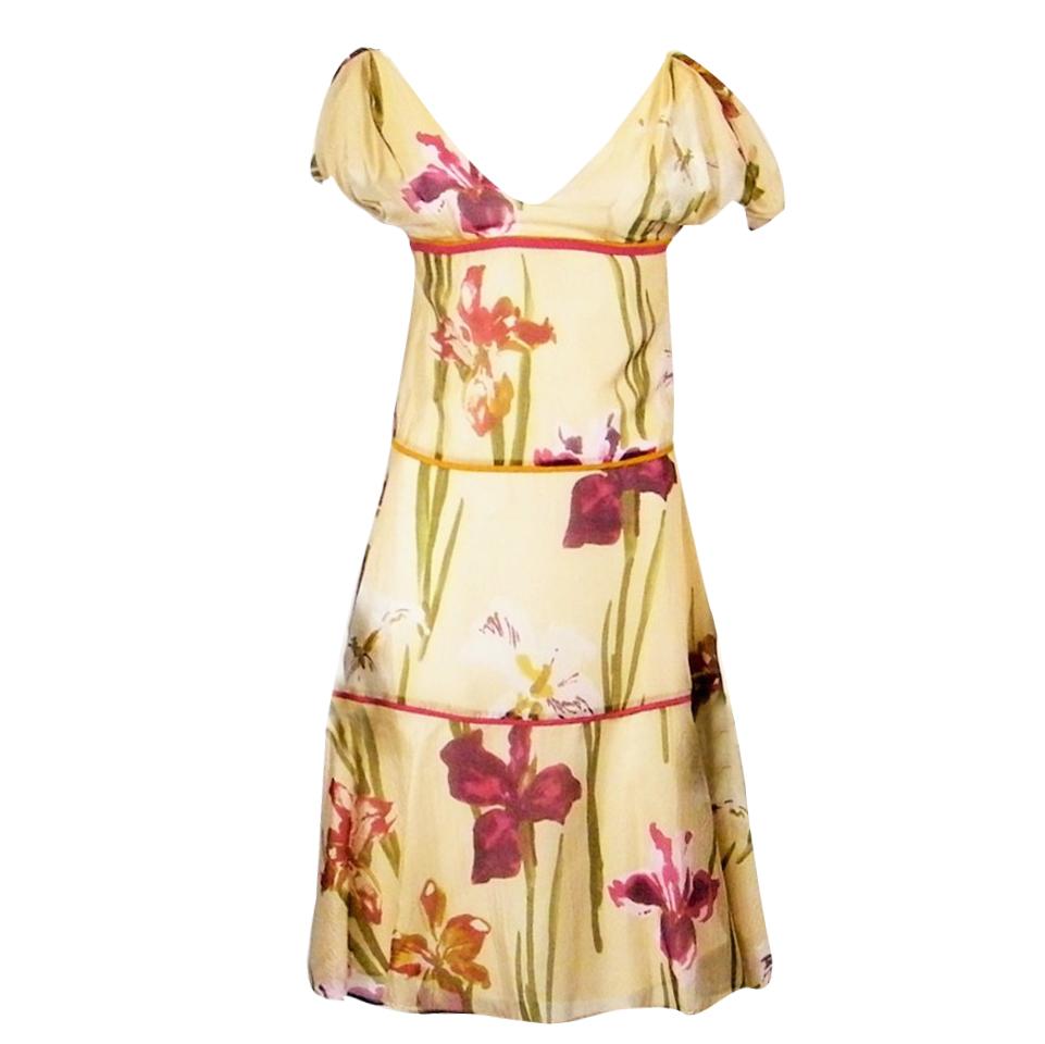 Kenzo Paris silk Iris print dress
