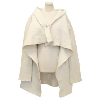 Dries Van Noten Cream Wool Heavy Knit Cardigan