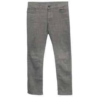 John Varvatos Grey Striped Linen Blend Trousers