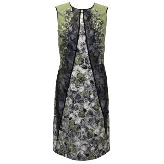 Bottega Venetta Green and Black Floral Printed Dress
