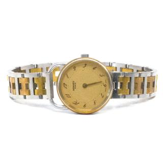 Hermes Vintage Gold and Metal Watch
