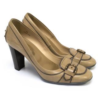 Tod's Tan Leather 'Jodie Fibbia' Heels