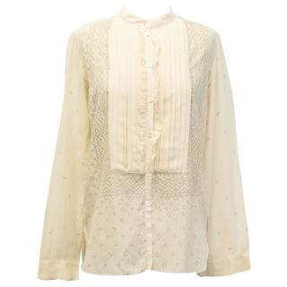 Chloe Cream Blouse with Gold Detail