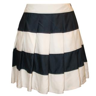 Tommy Hilfiger Navy and White Pleated Skirt, U.K. 10