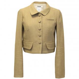 Chloe Woven Camel Silk Cropped Jacket