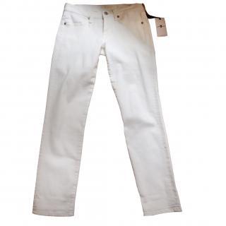 7 for all mankind white denim jeans
