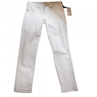 7 for all mankind white denim jeans