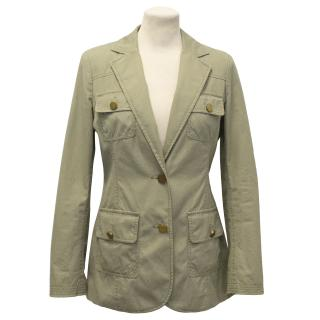 Tory Burch Cotton Army Green Military Blazer