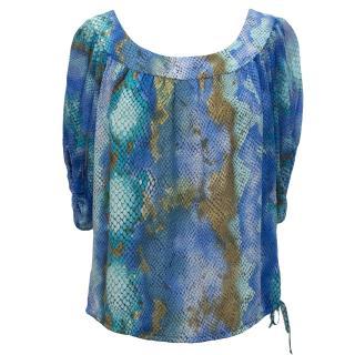 Single Aqua Blue Print Silk Top