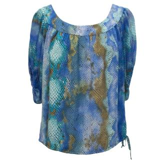 Single Aqua Blue Print Silk Top
