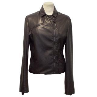 Bottega Veneta Dark Plum Leather Jacket