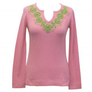 Lilly Pulitzer Pink Jumper with Green Embellishment