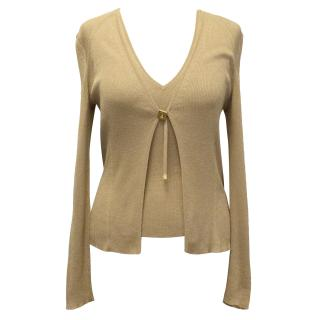 Gucci Beige Silk Knitted Cardigan and Top