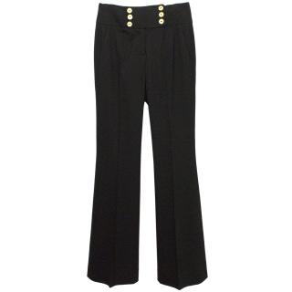 Couture Black High Waisted Trousers with Gold Buttons
