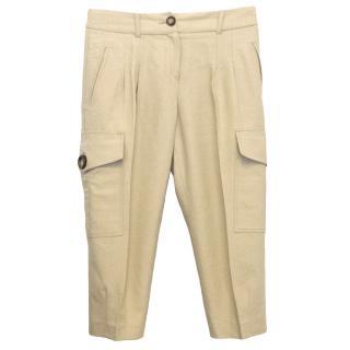 Michael Kors Beige Linen Cotton Safari 3/4 Trousers
