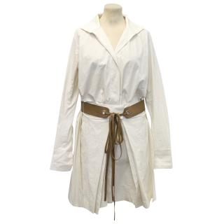 Donna Karan Cream Dress with Brown Belt