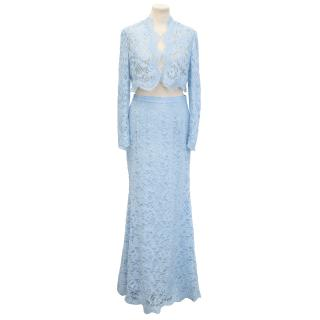 Emilio Pucci Baby Blue Lace Two Piece Jacket and Maxi Skirt