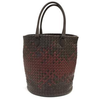 Bottega Veneta Brown and Red Woven Bag