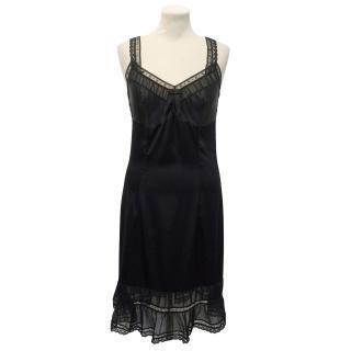 Collette Dinnigan Black Silk Blend Slip Dress