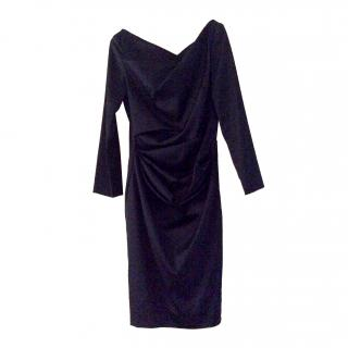 Talbot Runhof navy  silk gathered dress