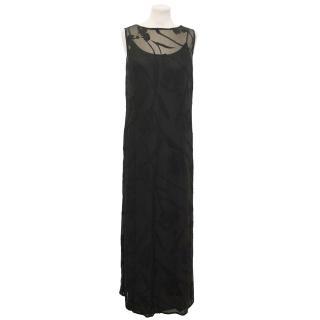 Mariella Rosati Black Floral Devore Dress