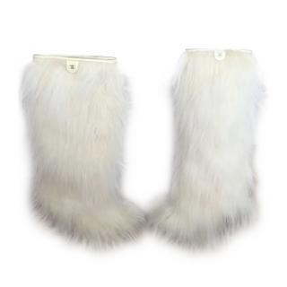 CHANEL AW10 Faux Fur Boots Knee High Shearling Lined White