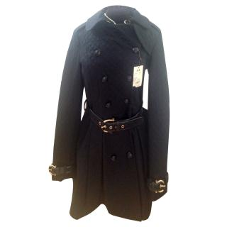 Thomas Burberry stunning black quilted trench coat size Uk 10
