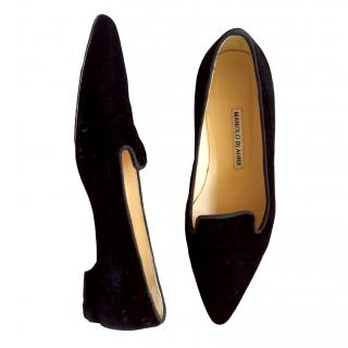 Manolo Blahnik black velvet loafers