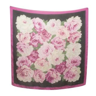 Jaeger Pink and Black Floral Large Square Scarf