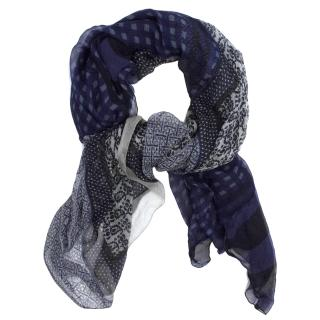 Dries Van Noten Blue Patterned Silk Scarf