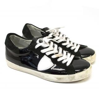 Philippe Model Black Patent and White Leather Sneakers