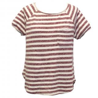 Koral Red Striped Sweat T-Shirt