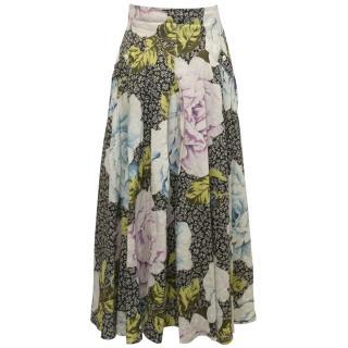 SportMax Floral Linen Skirt