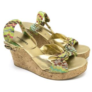 Missoni Gold Patterned Wedges