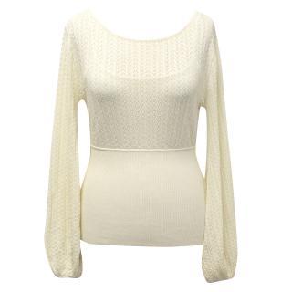 Catherine Malandrino Cream Fine Crochet Jumper
