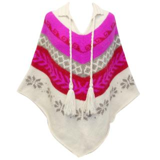 Joseph Cream and Hot Pink Tribal Knitted Poncho Cape