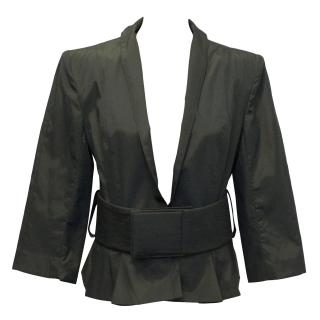 La Petite S***** Dark Grey Cotton Blend Jacket With Belt