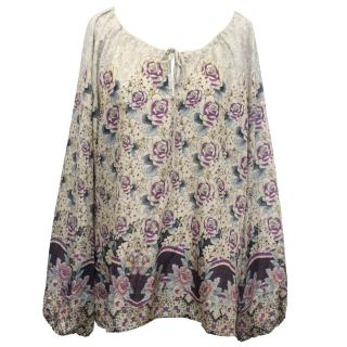 Gerard Darel Cream and Purple Flower Print Silk Blouse