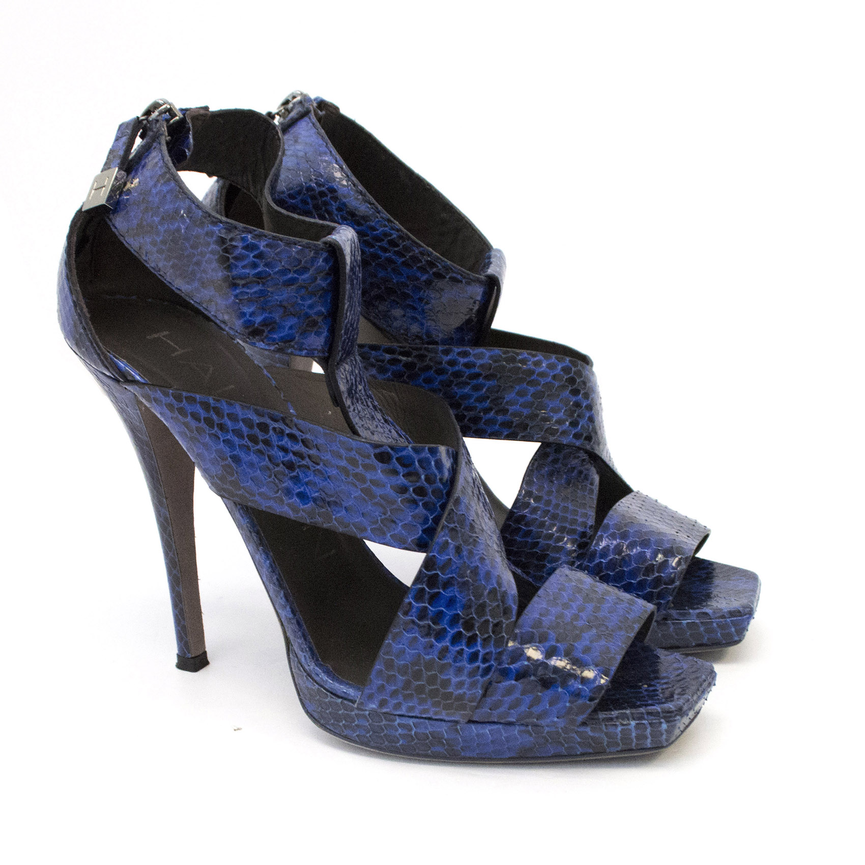 Halston Royal Blue and Black Snakeskin Heel Sandals