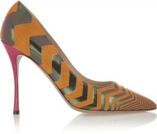 Nicholas Kirkwood orange suede and leather pumps