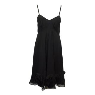 Farhi Black Silk Dress With Floral Applique