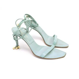 Sergio Rossi Pale Blue Heeled Sandals with Tassle