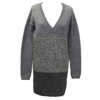 Theory Grey V Neck, Striped Merino Blend Knitted Jumper
