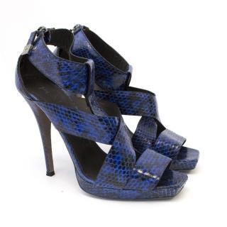 Halston Royal Blue and Black Snakeskin Heel Sandals